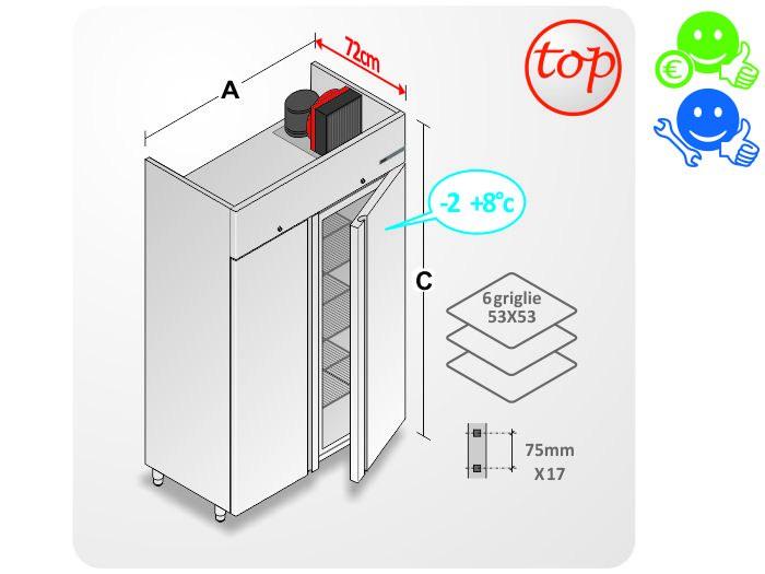 Armadio frigo inox top 1200lt temperatura da 2 a 8 c for Frigo due ante